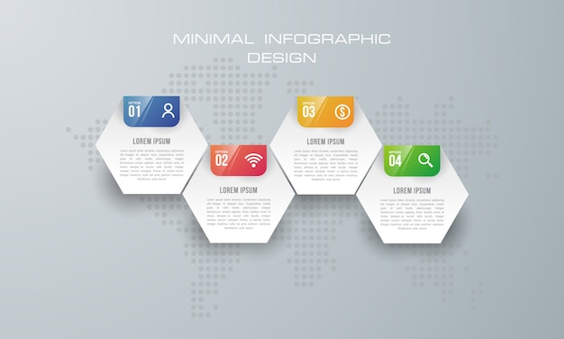 Infographic template with 4 options, workflow, process chart