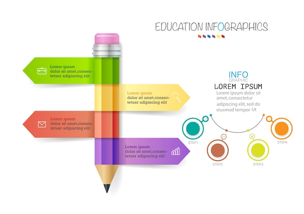 Infographic template with 4 steps pencil with colored ribbons