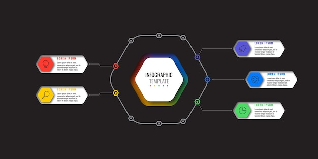 Infographic template with 5 multicolor hexagonal elements and thin line icons on black background