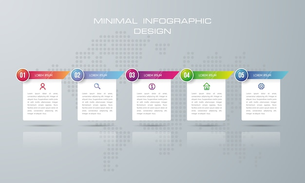 Infographic template with 5 options, timeline infographics design vector   - vector
