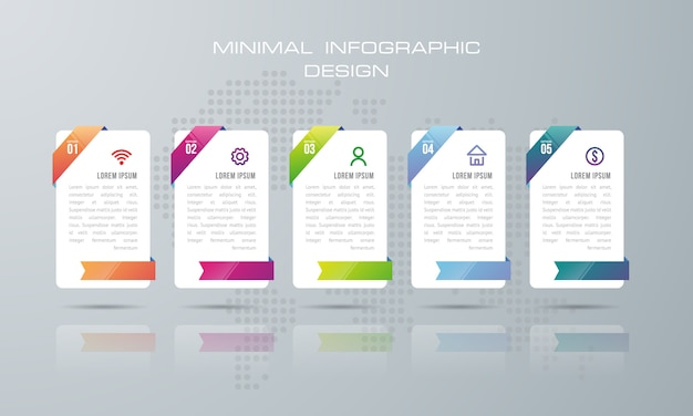 Infographic template with 5 options, workflow, process chart,timeline infographics design
