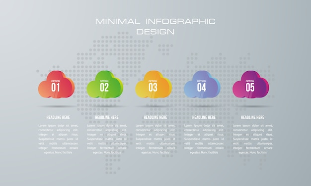 Infographic template with 5 options, workflow, process chart