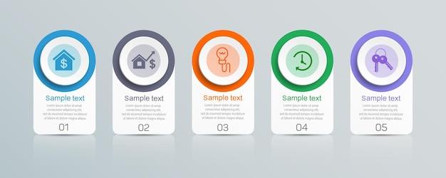 5つのオプションを備えたインフォグラフィックテンプレート