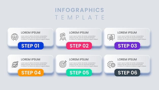 Infographic template with 6 options illustration