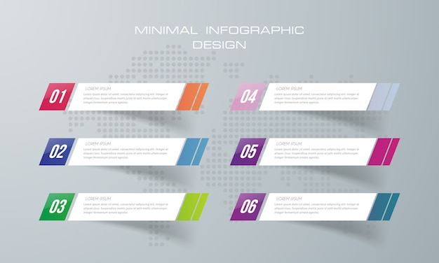 Infographic template with 6  options,  infographics design vector can be used for workflow layout,  - vector