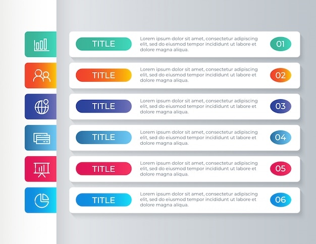 Infographic template with 6 options steps
