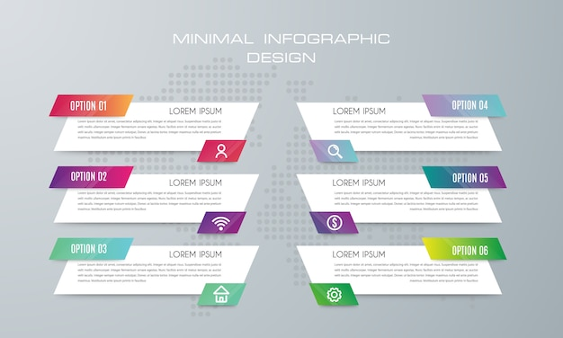 Infographic template with 6 options, workflow, process chart, timeline infographics design