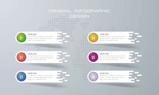 Infographic template with 6 options