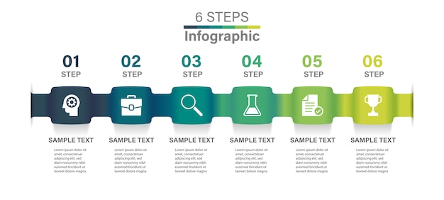 Infographic template with 6 options.