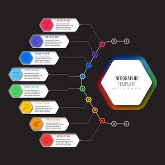 검은 배경에 8개의 여러 가지 빛깔의 육각형 요소와 가는 선 아이콘이 있는 infographic 템플릿