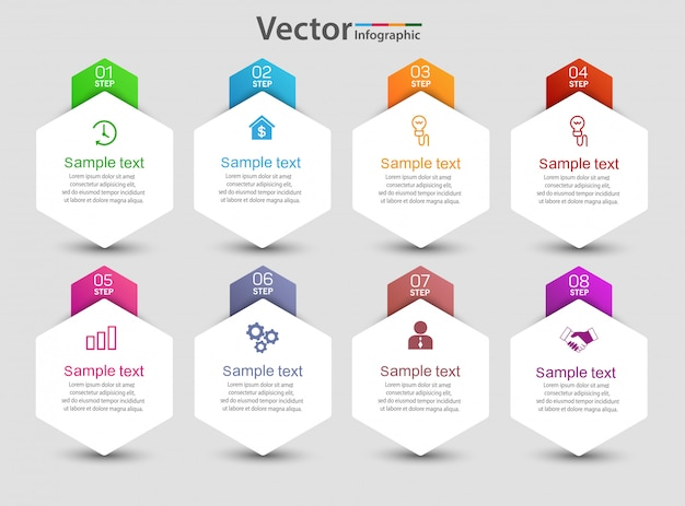 Infographic template with 8 options
