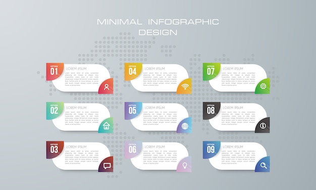 Infographic template with 9 options, workflow, process chart
