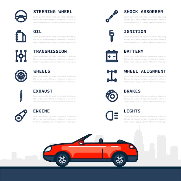 Infographic template with car and car parts icons
