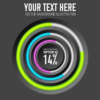 Modello di infografica con anelli colorati diagramma circolare e percentuale