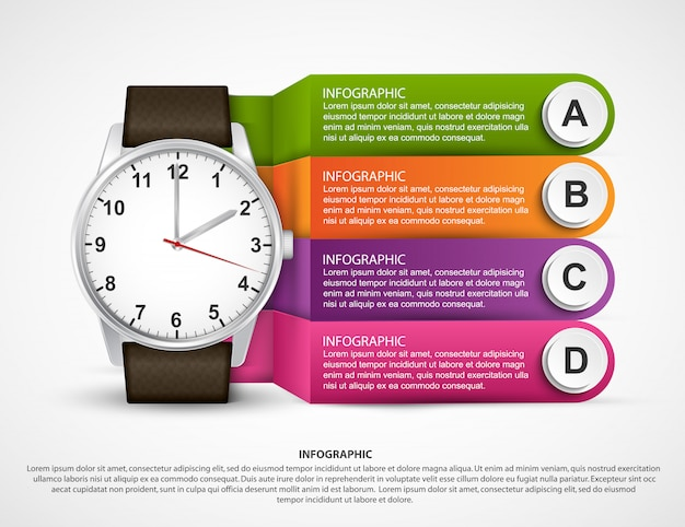 Infographic template with clock.