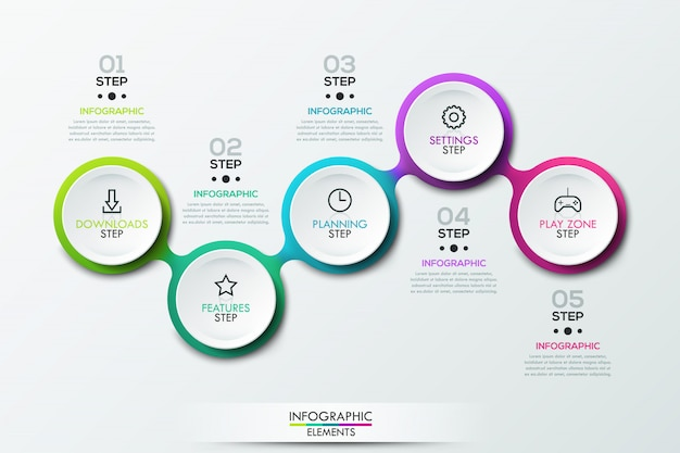 Infographic template with connected circular elements
