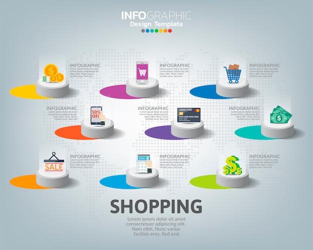 デジタルマーケティングアイコンコンセプトのインフォグラフィックテンプレート。
