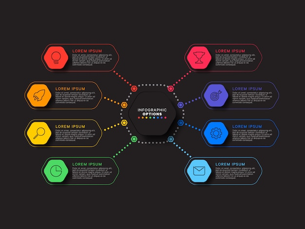 Infographic template with eight hexagonal elements on black background. modern business process visualisation with thin line marketing icons. illustration easy to edit and customize.