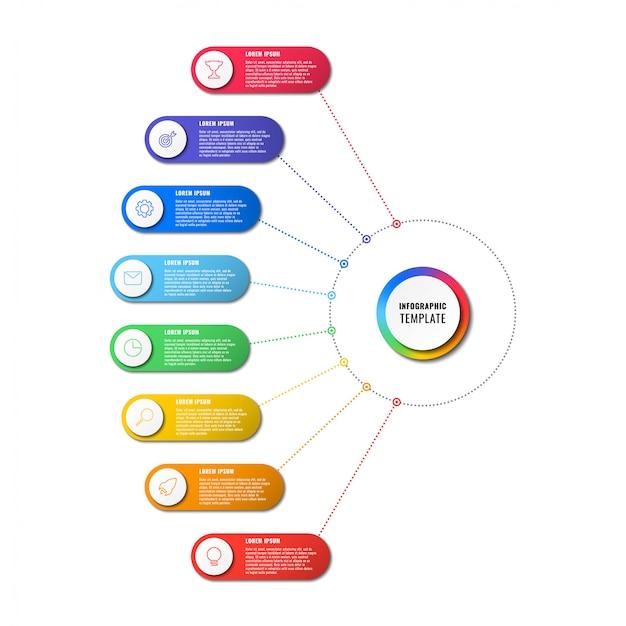 Инфографики шаблон с восемью круглыми элементами на белом фоне. визуализация современных бизнес-процессов с тонкими линиями маркетинговых иконок.