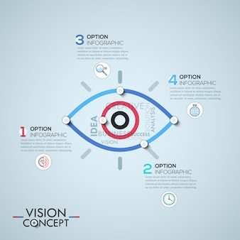 Infographic template with elements connected by lines in shape of eye