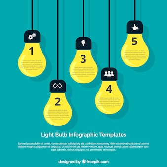 Infographic template with five light bulbs