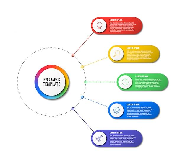 Инфографики шаблон с пятью круглыми элементами на белом фоне. визуализация современных бизнес-процессов с тонкими линиями маркетинговых иконок.