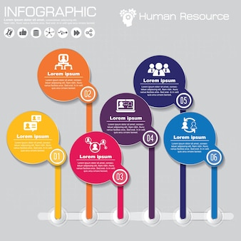 Infographic template with flat icons for presentation.