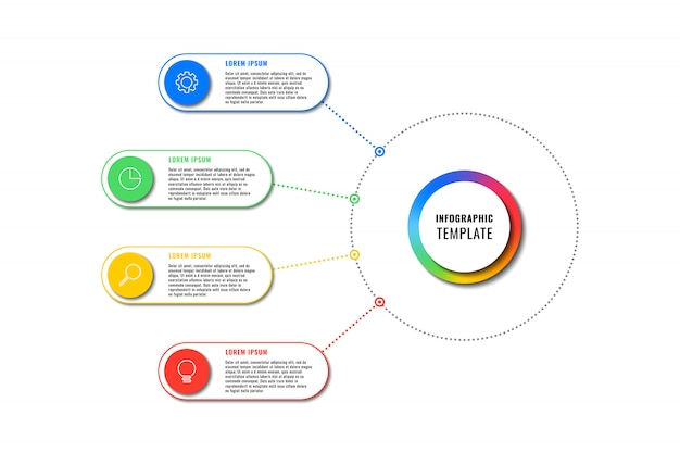 Infographic template with four round elements on white background. modern business process visualisation with thin line marketing icons.