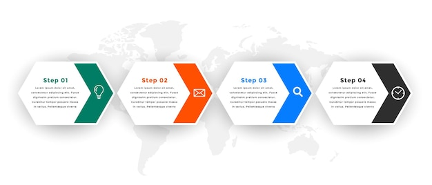 Infographic template with four steps design
