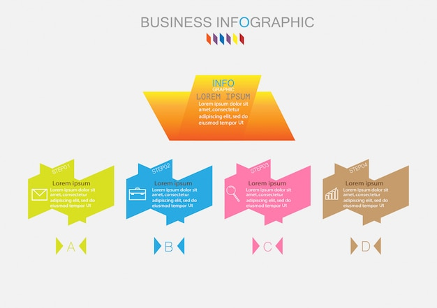 Infographic template with four steps or options process diagram