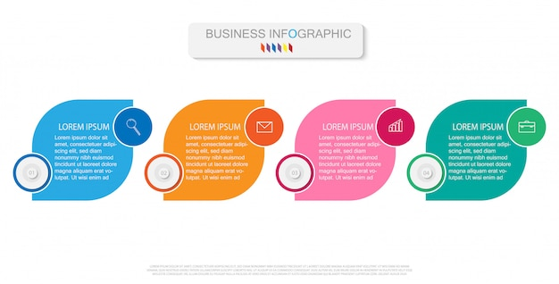 Infographic template with four steps or options, workflow, process diagram