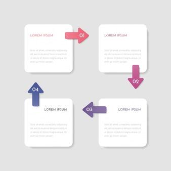 네 단계 또는 네 가지 옵션이있는 infographic 템플릿. 비즈니스 컨셉 디자인 프리젠 테이션, 웹, 브로셔, 다이어그램에 사용할 수 있습니다.
