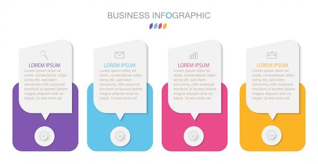 Инфографический шаблон с четырьмя шагами или вариантами