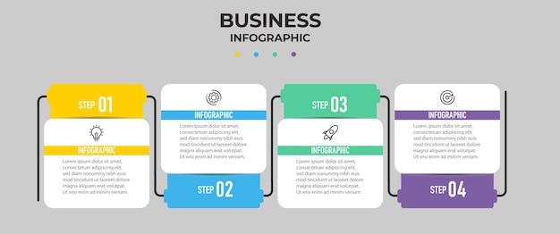 4つのステップのインフォグラフィックテンプレート