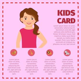소녀와 동물원 동물과 infographic 템플릿
