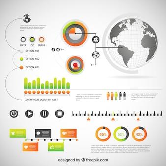 Инфографики шаблон с глобусом
