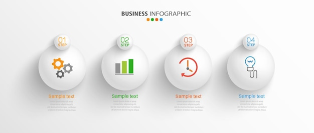 Infographic template with icons and 4 options or steps
