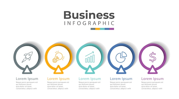 Infographic template with icons and 5 options or steps.