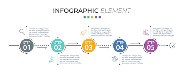 Infographic template with icons and 5 options or steps