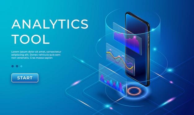 Инфографики шаблон с изометрической 3d телефон. маркетинговые диаграммы и графики на смартфоне. мониторинг анализа, визуализация данных