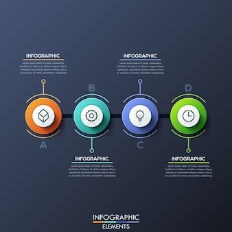 Infographic template with lettered circular elements