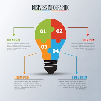 Infographic template with light bulb puzzle