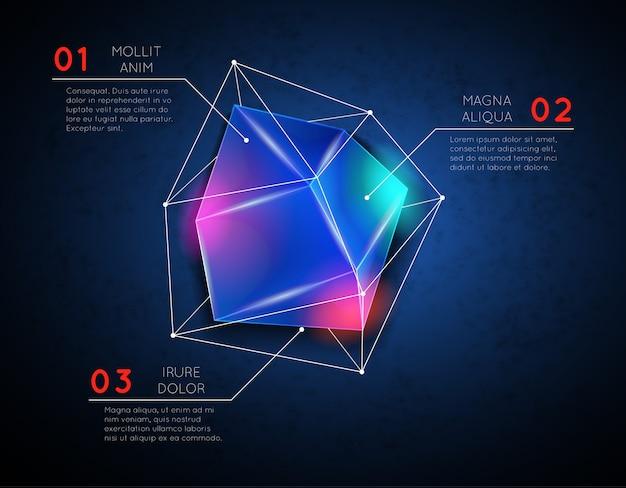 低ポリ多角形の光る幾何学的形状のインフォグラフィックテンプレート。ファセットと三角形、明るい構造
