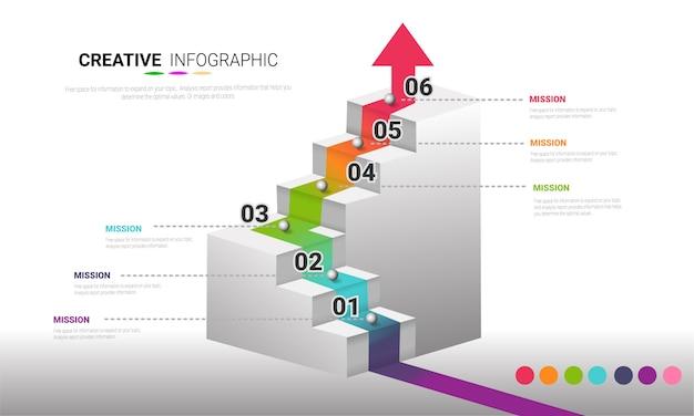 番号を持つインフォグラフィックテンプレート。ワークフローのレイアウト、図、番号のステップアップオプションに6つのオプションを使用できます。