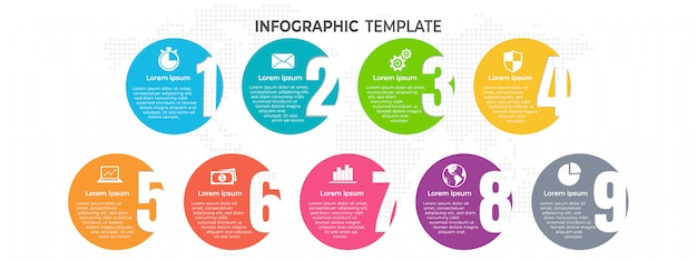 Infographic template with numbers with options.