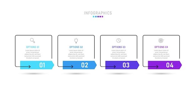 옵션 또는 단계가있는 인포 그래픽 템플릿.