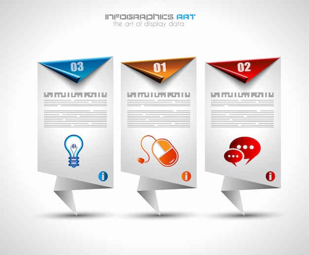 Infographic template with paper tags.