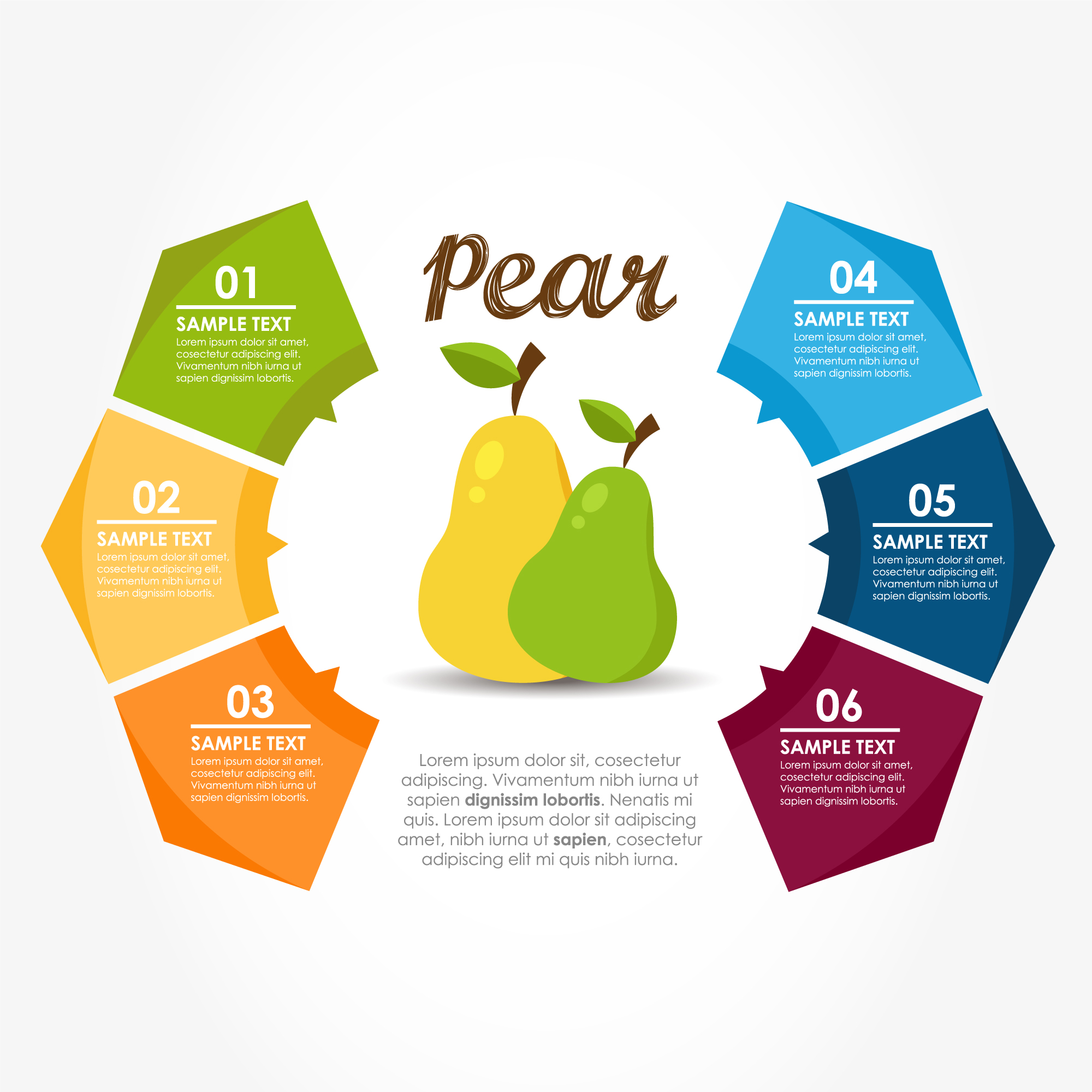 Infographic template with pears