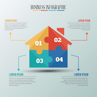 Infographic template with puzzle style house