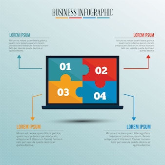 Infographic template with puzzle style laptop